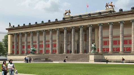3D visualization of the Altes Museum with view of the main entrance and open stairway (Opens a Larger Version of the Image)