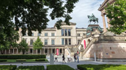 olonnade Courtyard in front of the Alte Nationalgalerie and the Neues Museum on the Museuminsel