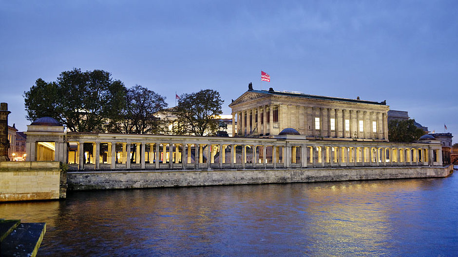 Evening view over the Spree of the Museum Island Berlin with the Alte Nationalgalerie and the Colonnade Courtyard