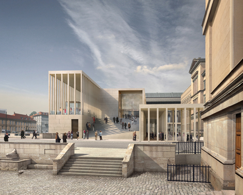 Visualisierung der von David Chipperfield gebauten James-Simon-Galerie auf der Museumsinsel
