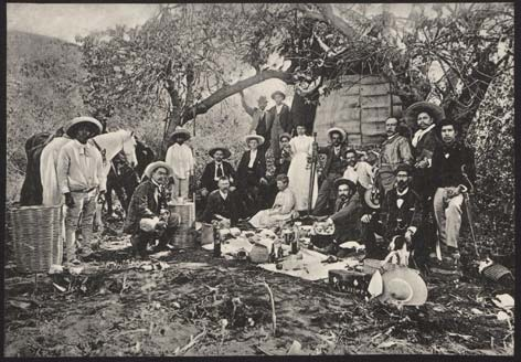 Berlin-based collector Eduard Seler and his wife Caecilie Seler-Sachs with Mexican collectors and archaeologists in Monte Albán, Oaxaca, Mexico, c. 1895.