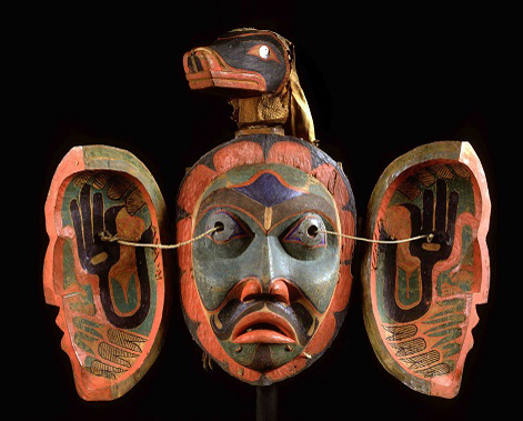 "Transformation mask of the ""Nulis"", Kwakiutl, Jacobsen Collection 1881"