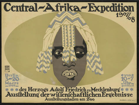 In colonial times, the findings of research expeditions to Africa were exhibited in the zoo: poster by Hans Rudi Erdt, 1909