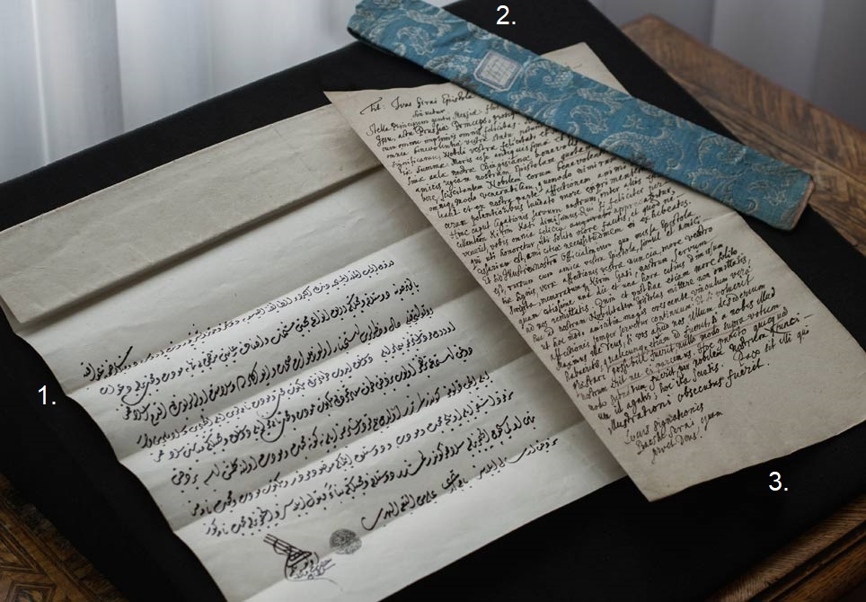 The letter from Khan Ivas Giray to the Great Elector, Frederick William of Brandenburg was once transported in a valuable fabric pouch.