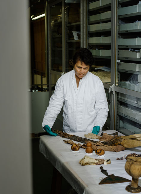 Cynthia Schimming is one of many guest researchers investigating the historic collections from Namibia along with curators of the Ethnologisches Museum.