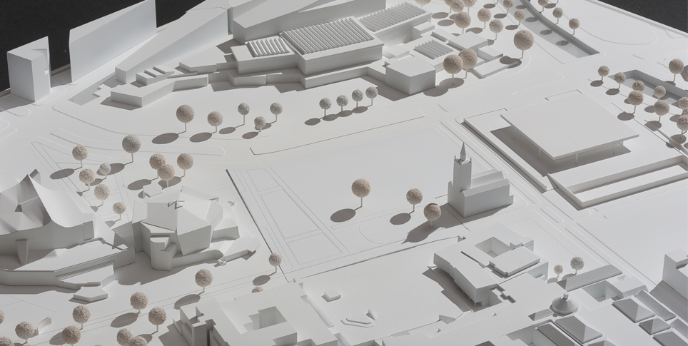 Model of the Kulturforum. The new building for the Museum des 20. Jahrhunderts will stand between the Philharmonie and the Neue Nationalgalerie