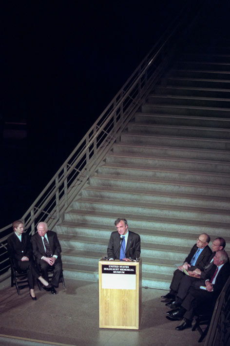 Elie Wiesel at the opening of the US Holocaust Memorial Museum