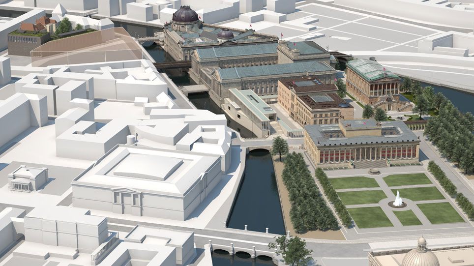 3D visualization of the Museumsinsel Berlin after all construction projects have been completed. View from the south