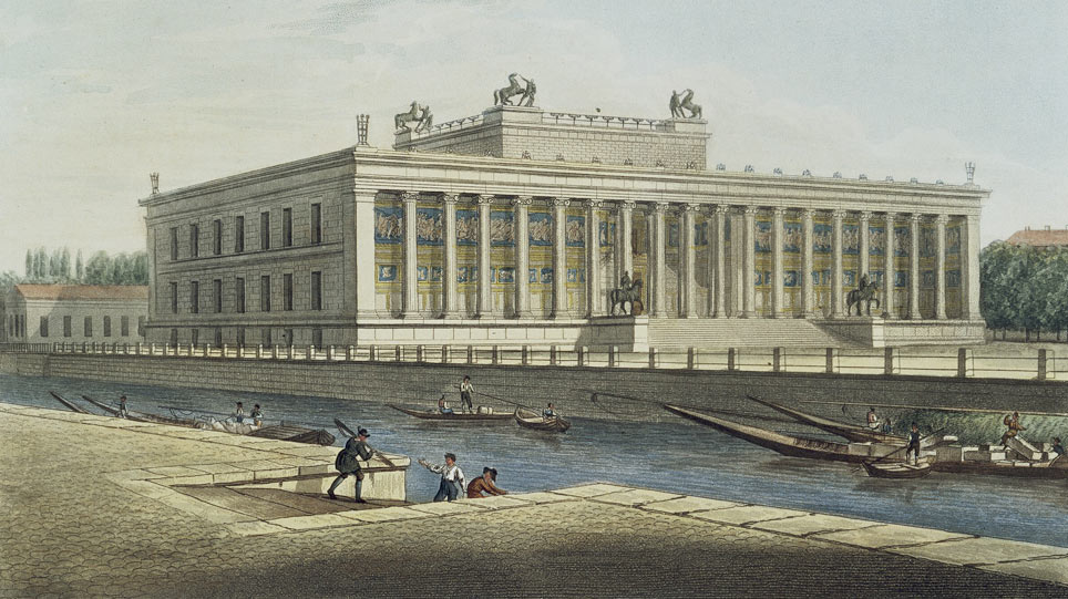 Hand-colored etching of the Altes Museum on the Museum Island Berlin