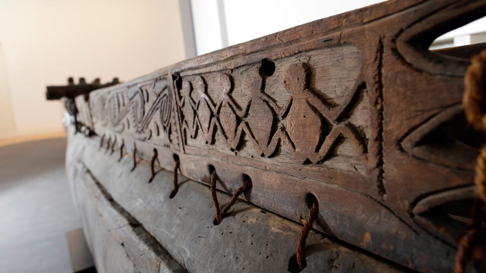 Detail of an outrigger canoe from the Sepik estuary, New Guinea