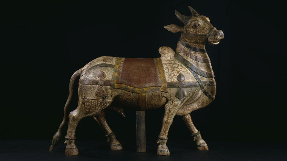 Nandi, wooden model of a white Zebu (cattle), southern India