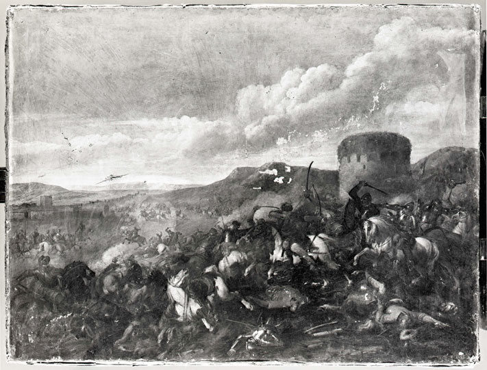 "Historical photograph of the painting ""Equestrian Battle"""